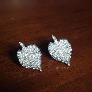 Vintage Rhinstone Leaf Clip Earrings
